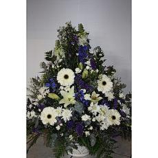 White daisy and purple large floral arrangement