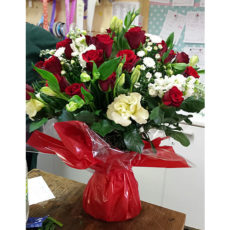 Red and white roses floral arrangement