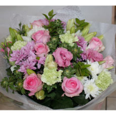 Pink Rose, White daisy, white lily floral bouquet