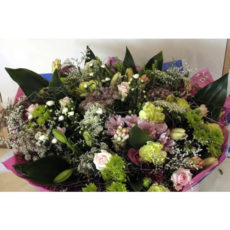 Colourful Floral Arrangement with Pink Roses, White Carnation, Lily