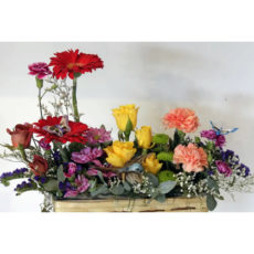 Yellow Rose, Red Daisy and Pink Carnation Floral Arrangement