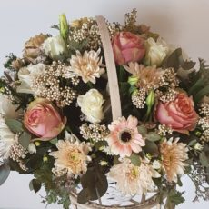White Roses, Pink Roses and Pink Daisies Pastel Basket