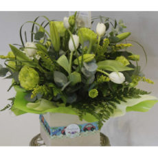 White Tulips and White Lily Floral Arrangement in Box