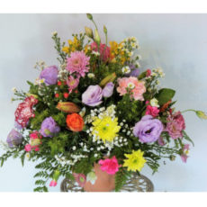 Purple and Pink Rose with pink and yellow daisies floral arrangement