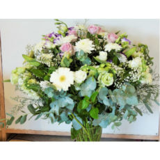 Pink and white Rose, White Daisy and White Lily Floral arrangement