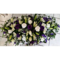 Purple Rose, White Carnation and White Lily Floral Arrangement
