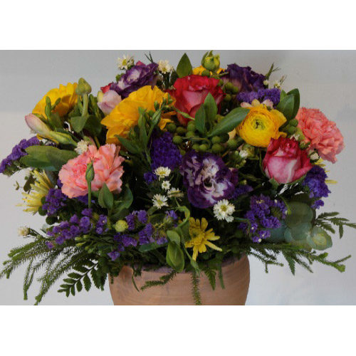 Colourful Floral Arrangement with Pink, yellow and purple roses