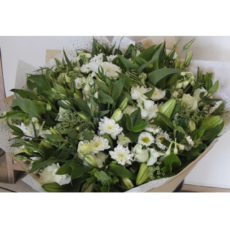 White Rose, White Daisy and White Lily Bouquet