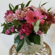 Pink Rose and Pink Daisy Floral Arrangement in Glass Vase