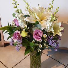 Pink rose and White Lily Bouquet in glass vase