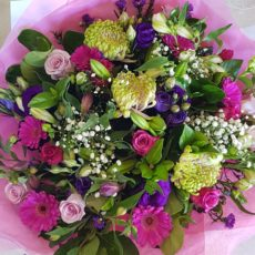 Pink and Purple rose and Pink Daisy Bouquet
