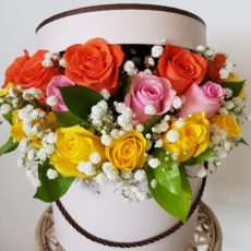 Yellow, Pink and Orange Rose Arrangement in Pink Hat Box