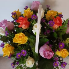 Basket of Pink, Yellow, White and Peach Roses