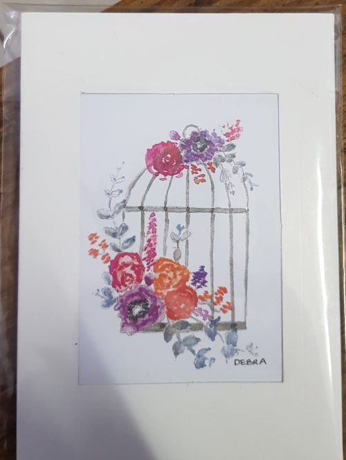 Bird Cage with flowers card