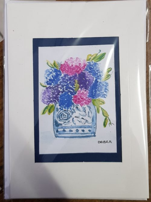 Pink, Purple and Blue Flowers in vase Card