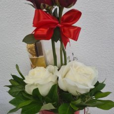 Red and White Rose Arrangement with Ferrero Rocher Chocolate
